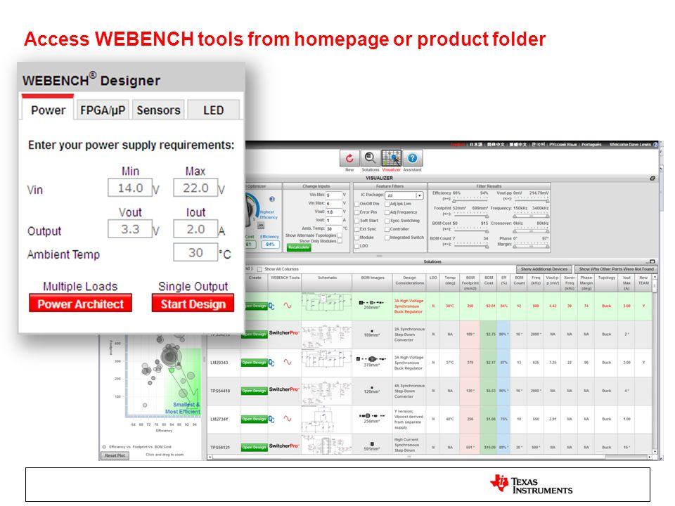 Access WEBENCH tools from homepage or product folder