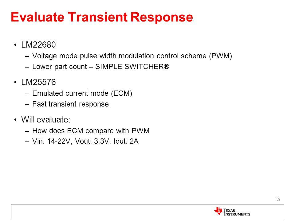Evaluate Transient Response