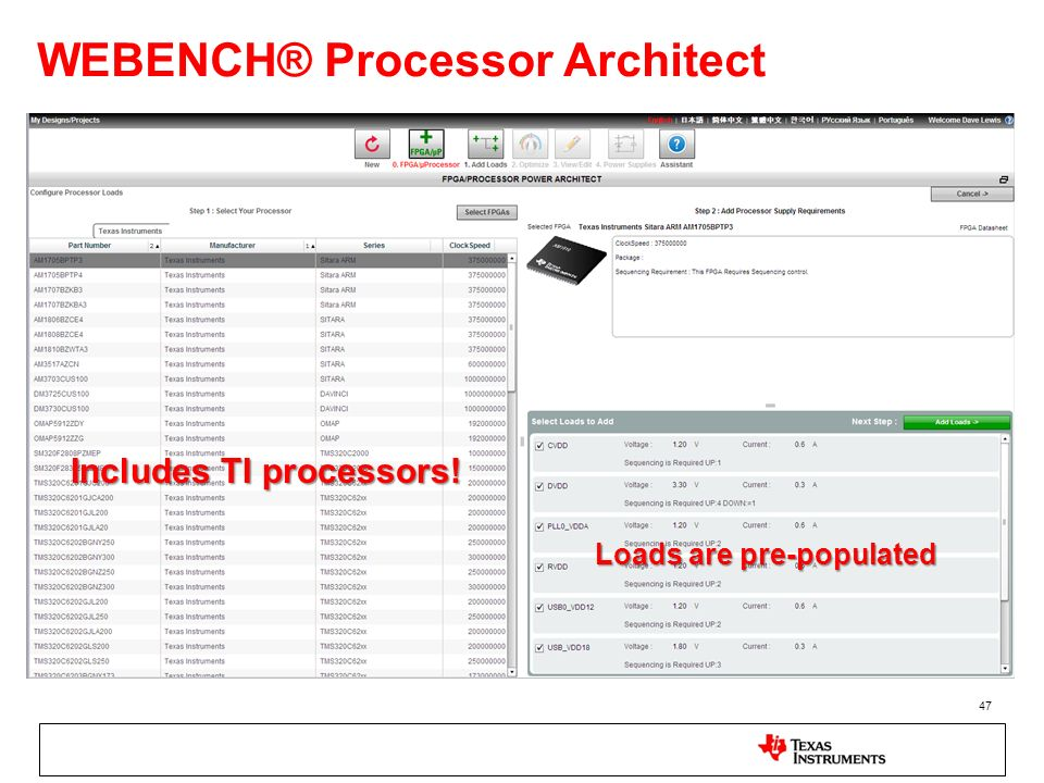 WEBENCH® Processor Architect