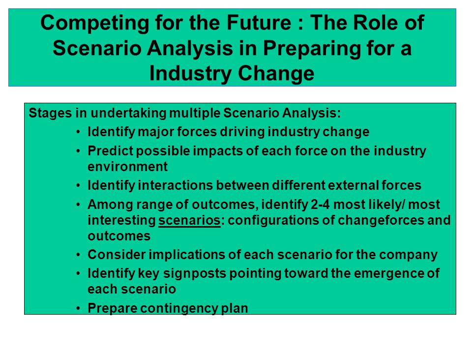 Competing for the Future : The Role of Scenario Analysis in Preparing for a Industry Change