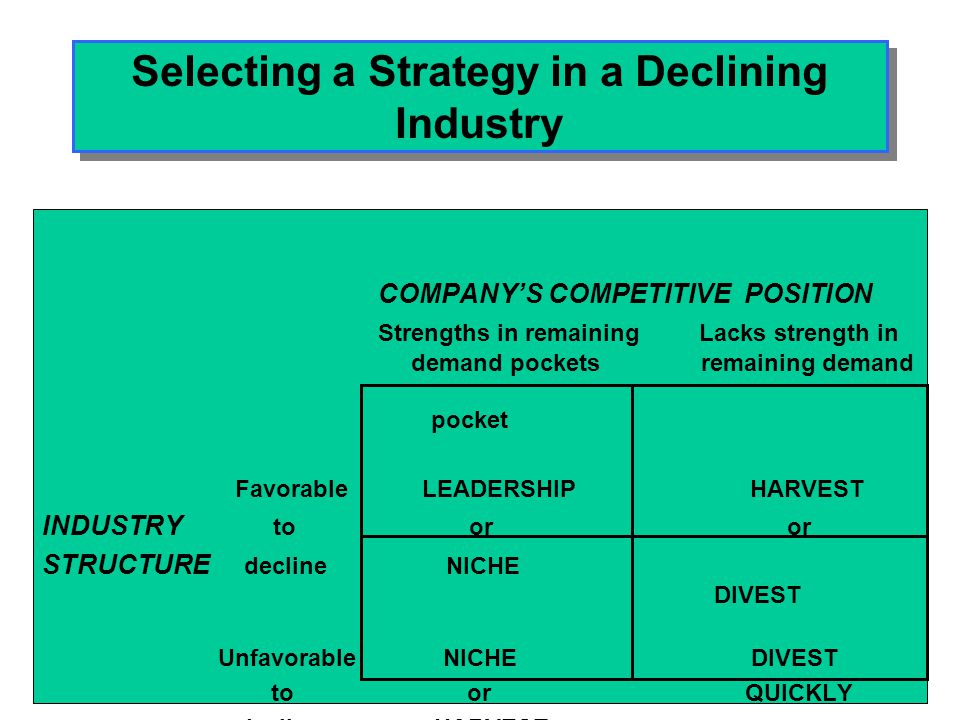 Selecting a Strategy in a Declining Industry