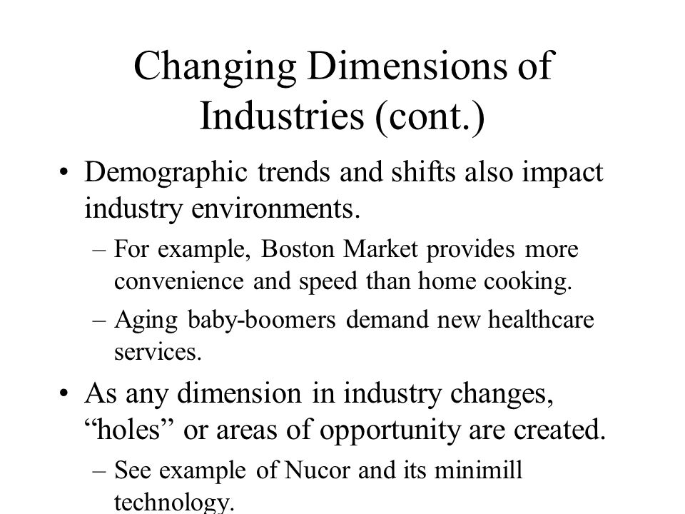 Changing Dimensions of Industries (cont.)