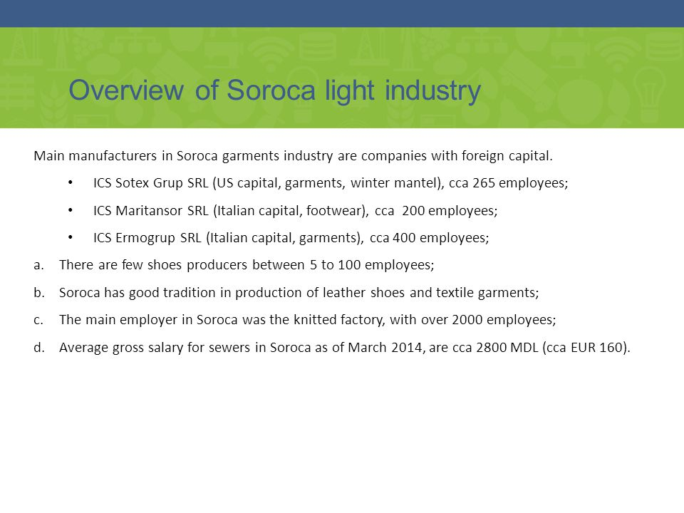 Overview of Soroca light industry