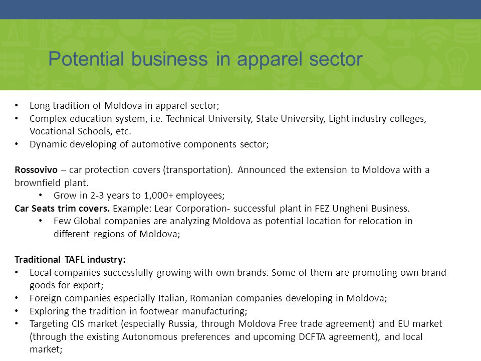 Potential business in apparel sector