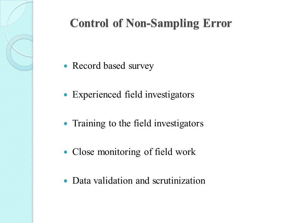 Control of Non-Sampling Error