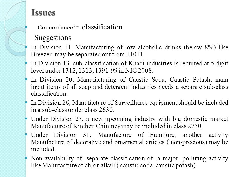 Issues Suggestions Concordance in classification
