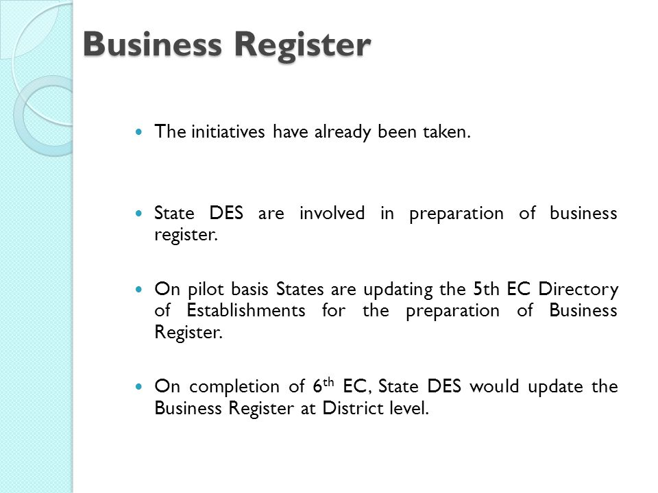 Business Register The initiatives have already been taken.
