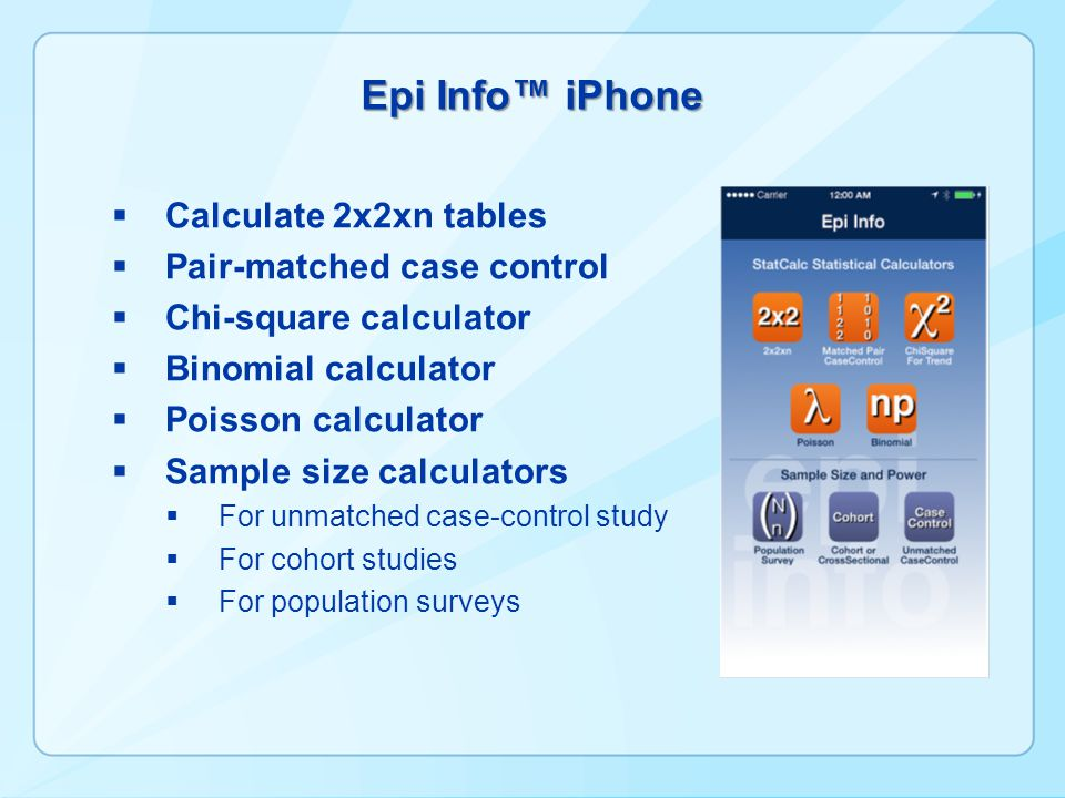Epi Info™ iPhone Calculate 2x2xn tables Pair-matched case control
