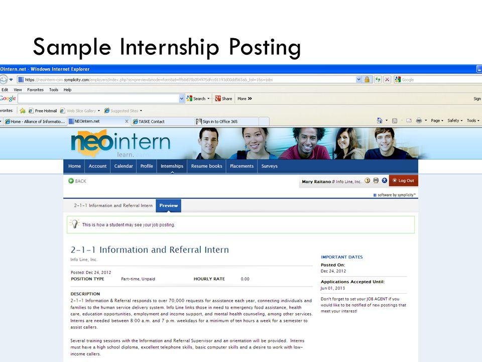 Sample Internship Posting