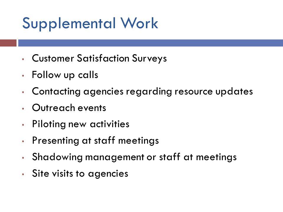 Supplemental Work Customer Satisfaction Surveys Follow up calls