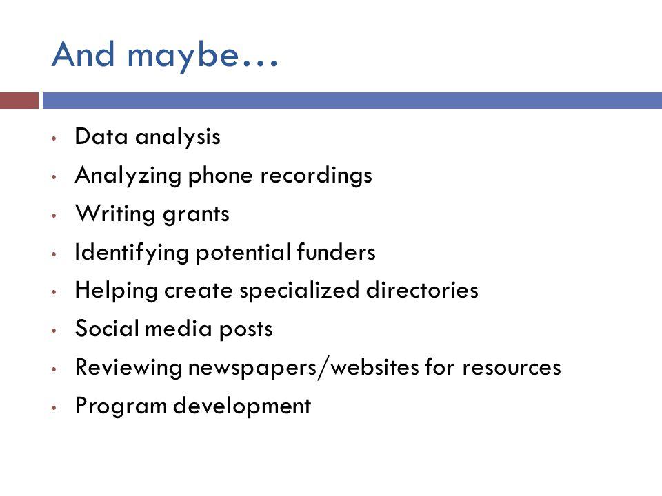 And maybe… Data analysis Analyzing phone recordings Writing grants
