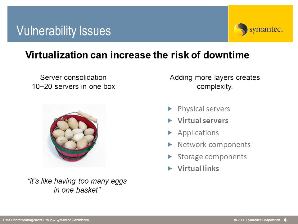 Vulnerability Issues Virtualization can increase the risk of downtime