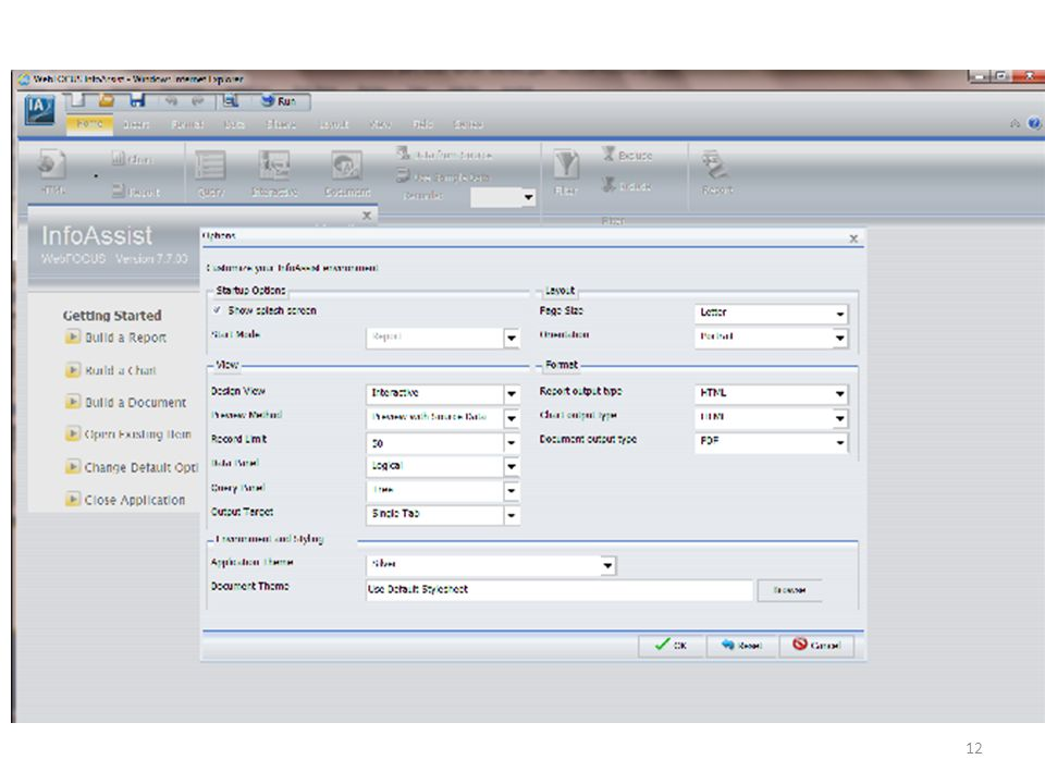 Change Default Options give you the ability to customize your InfoAssist Environment.