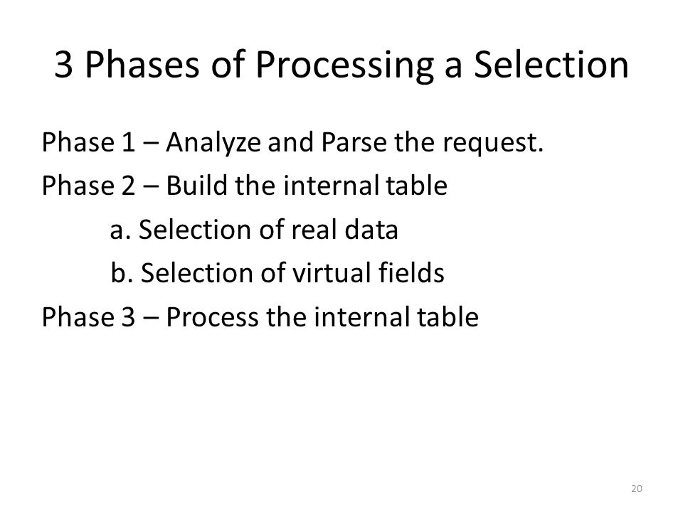 3 Phases of Processing a Selection
