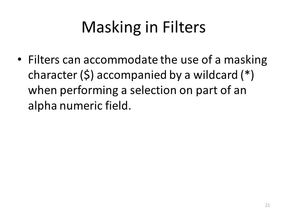 Masking in Filters