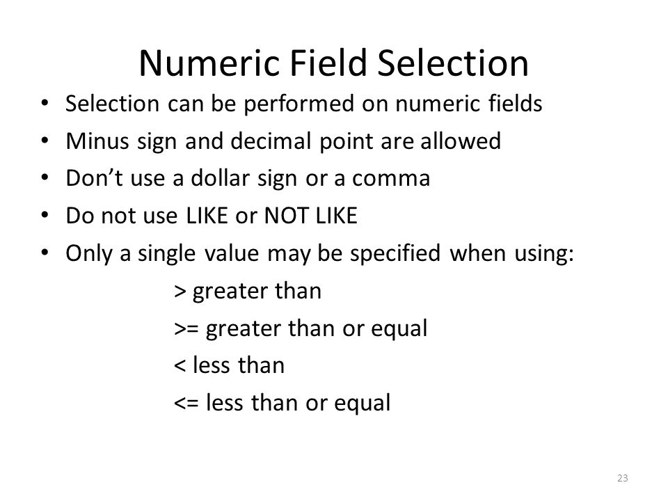 Numeric Field Selection