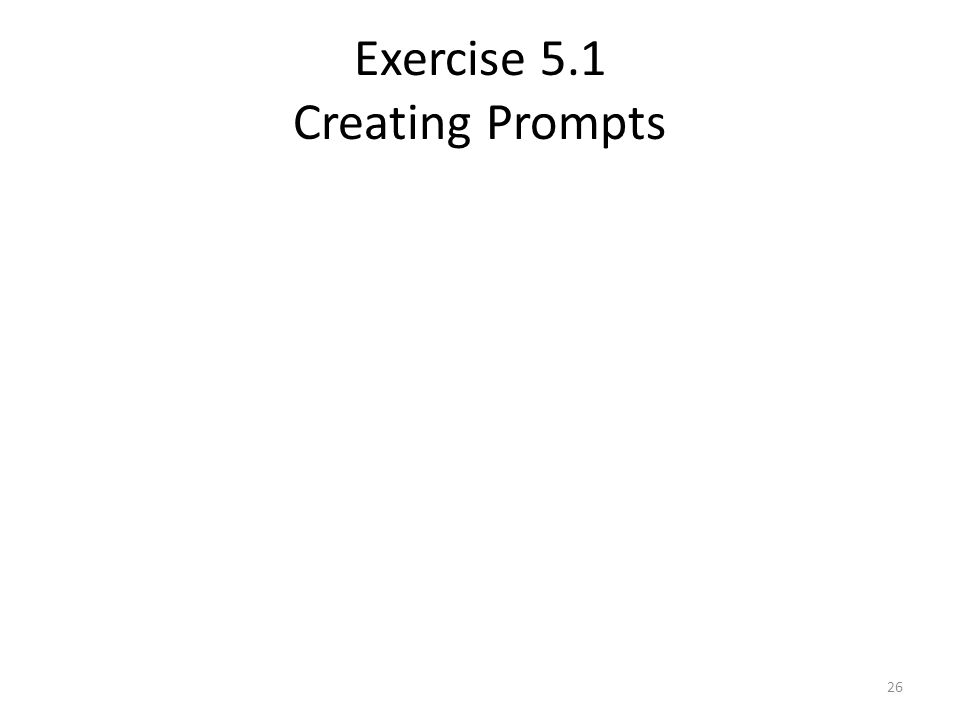 Exercise 5.1 Creating Prompts