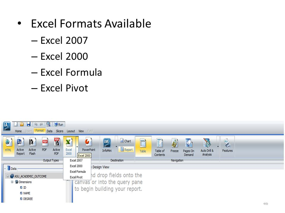 Excel Formats Available