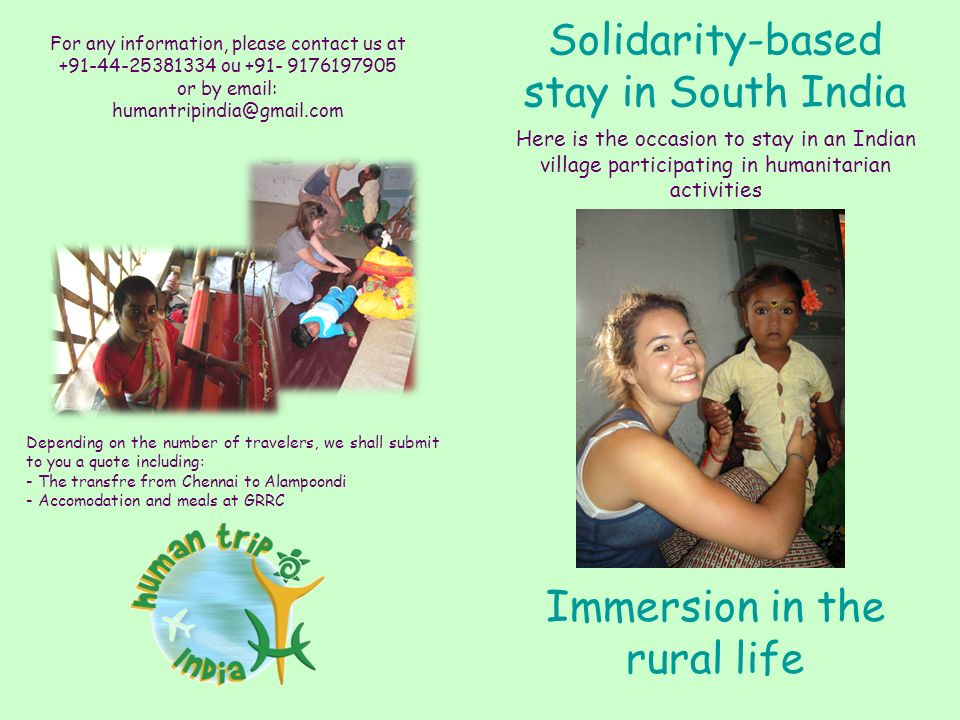 Immersion in the rural life Solidarity-based stay in South India