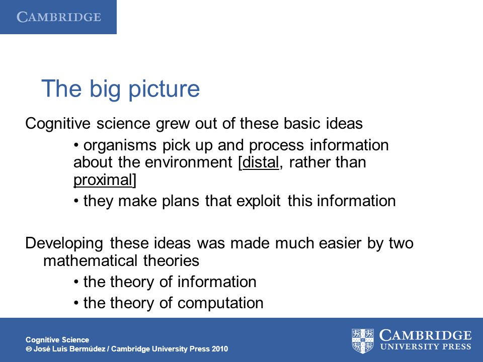 The big picture Cognitive science grew out of these basic ideas