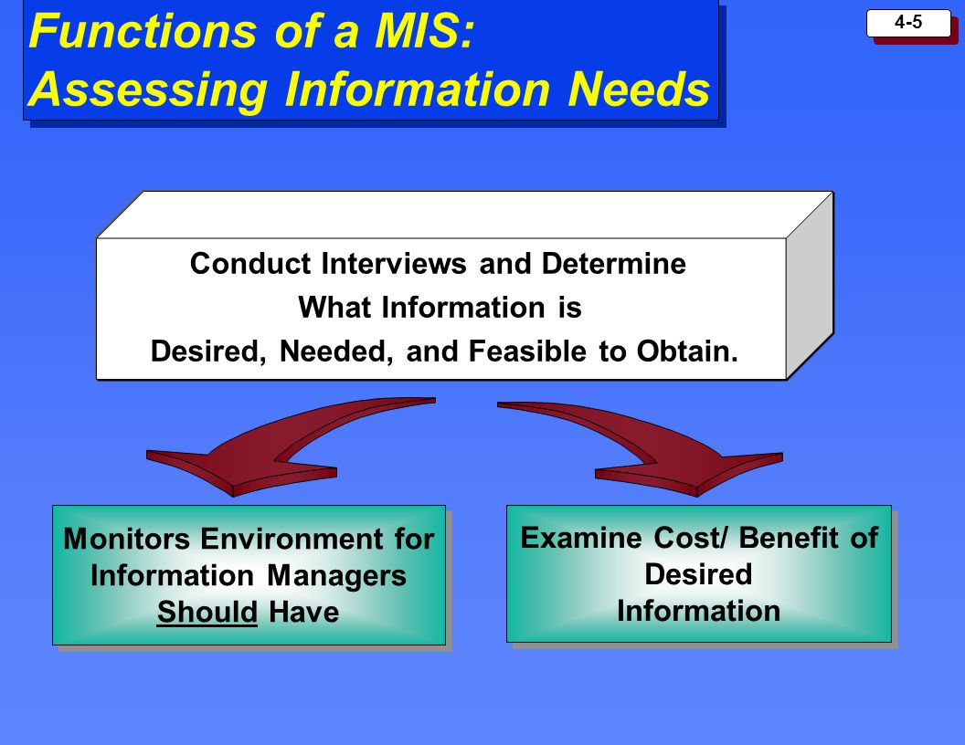 Functions of a MIS: Assessing Information Needs