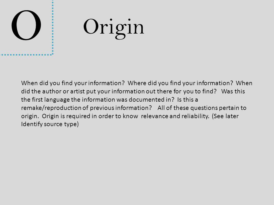 O Origin.