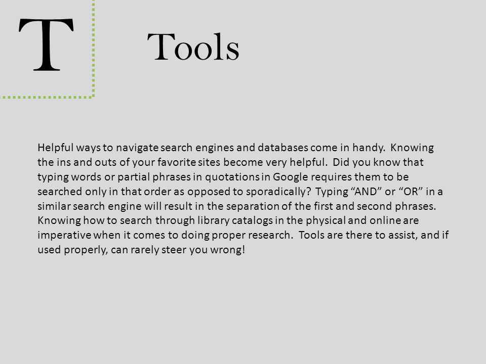 T Tools.