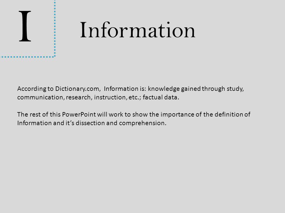 I Information.