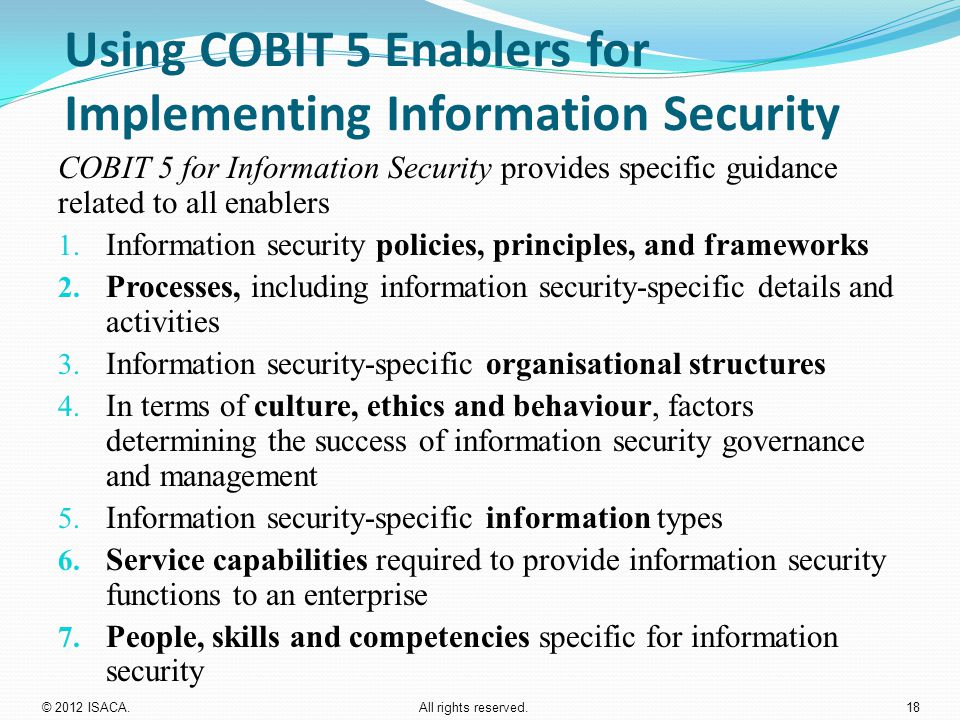Using COBIT 5 Enablers for Implementing Information Security