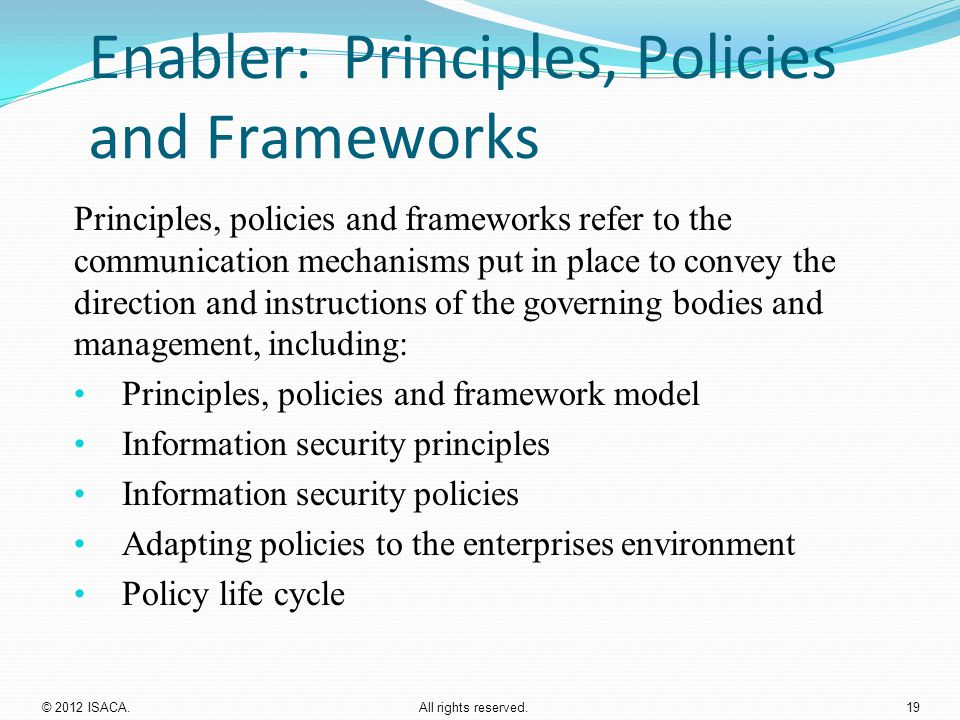 Enabler: Principles, Policies and Frameworks