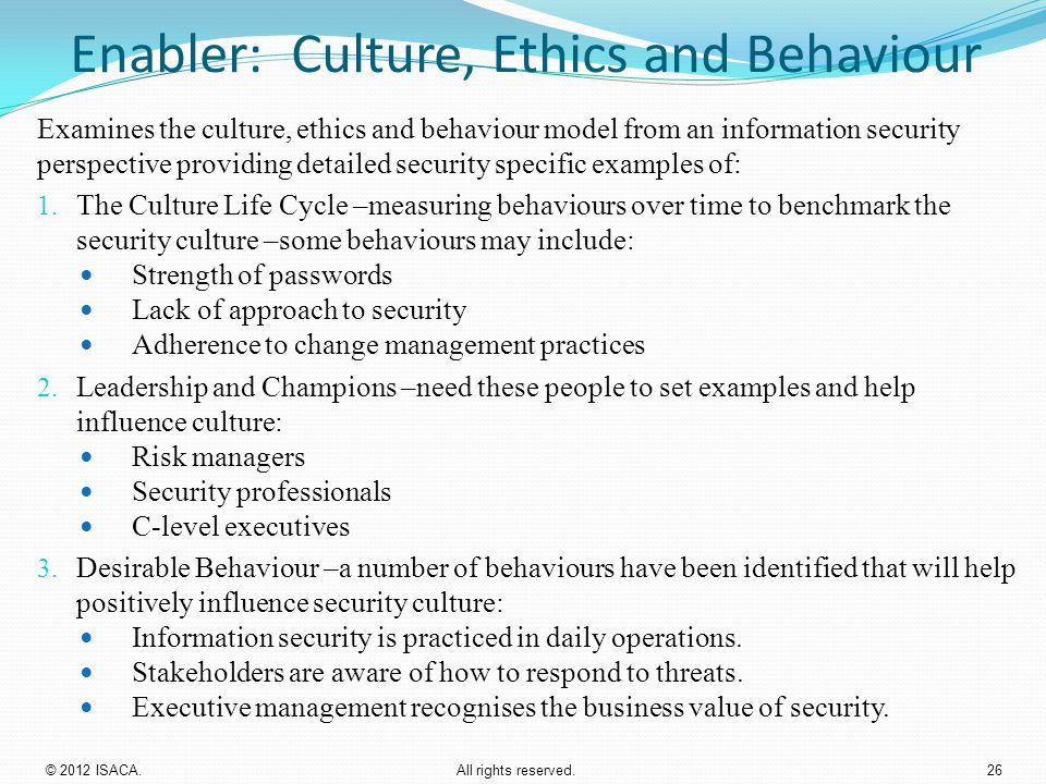 Enabler: Culture, Ethics and Behaviour