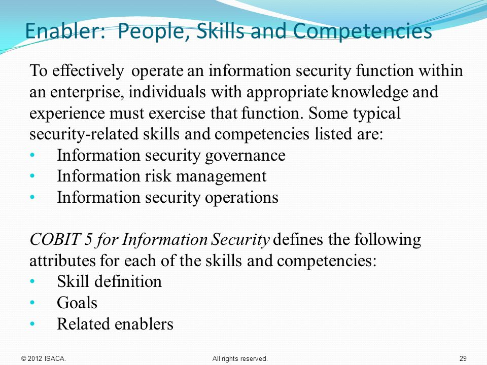 Enabler: People, Skills and Competencies