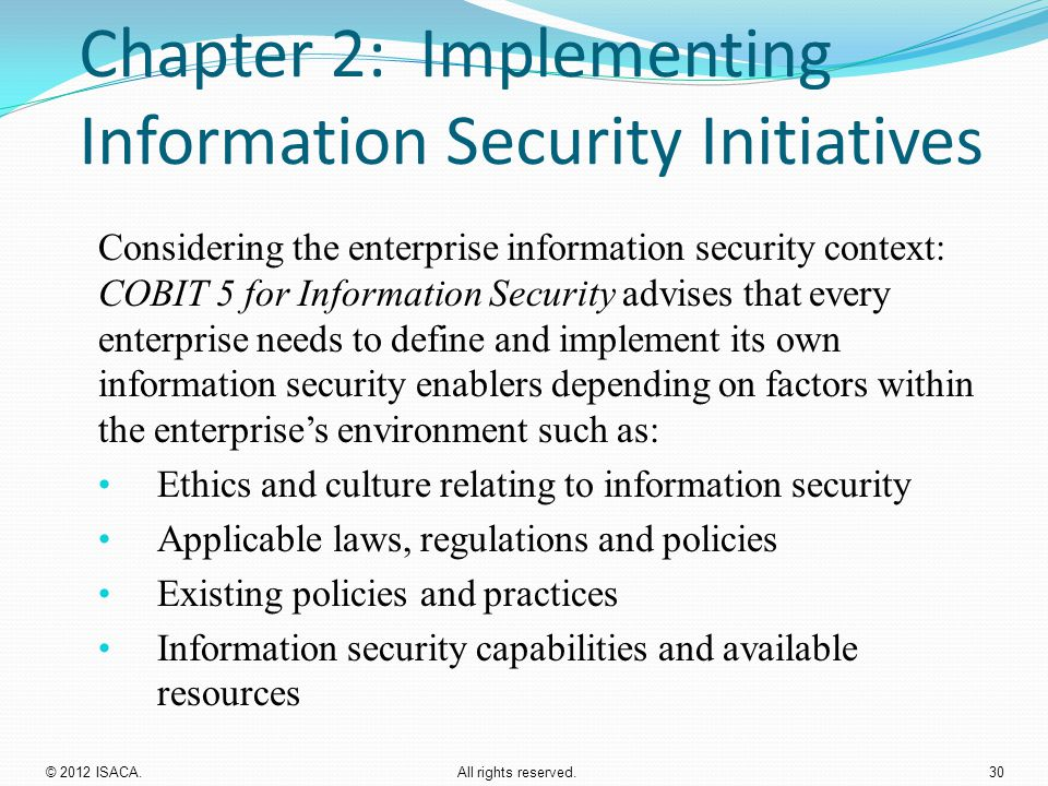 Chapter 2: Implementing Information Security Initiatives