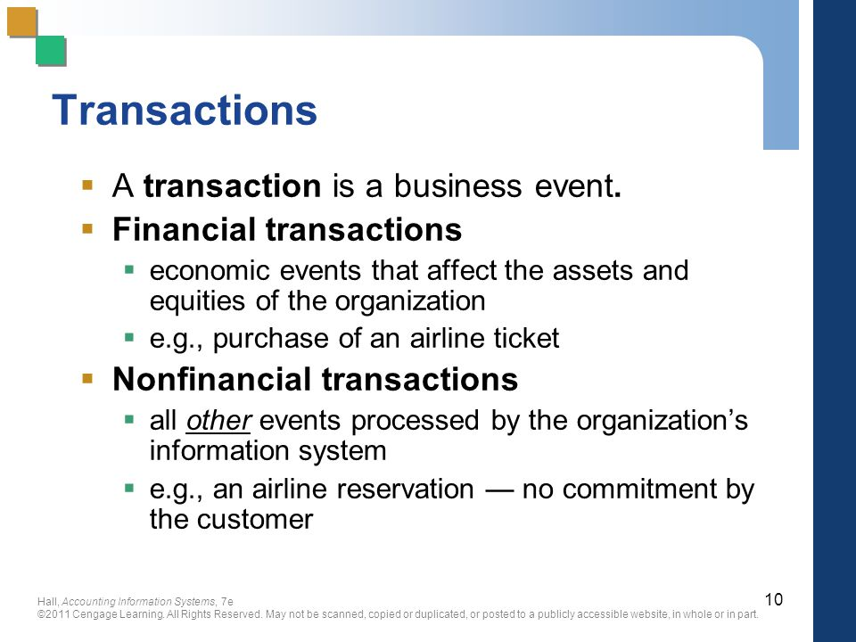Transactions A transaction is a business event. Financial transactions