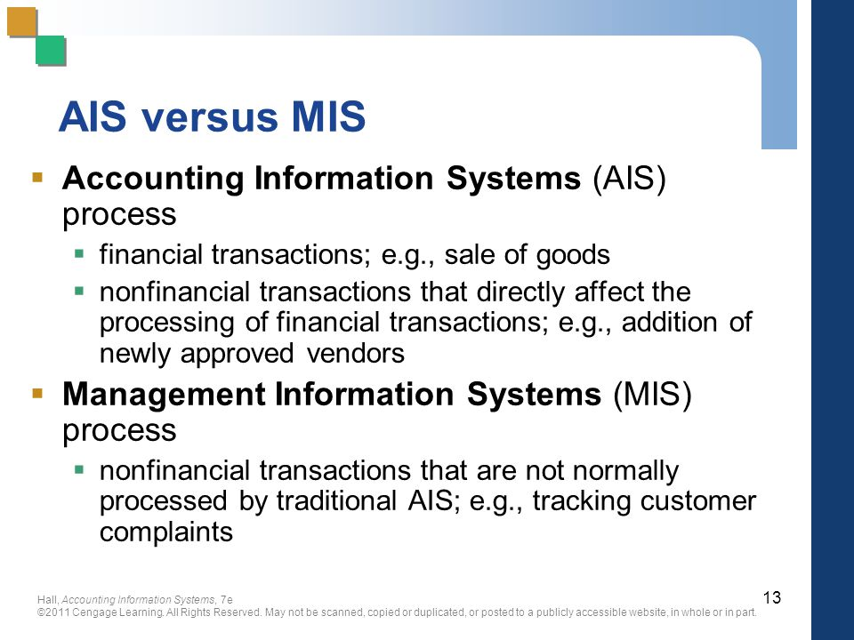 AIS versus MIS Accounting Information Systems (AIS) process