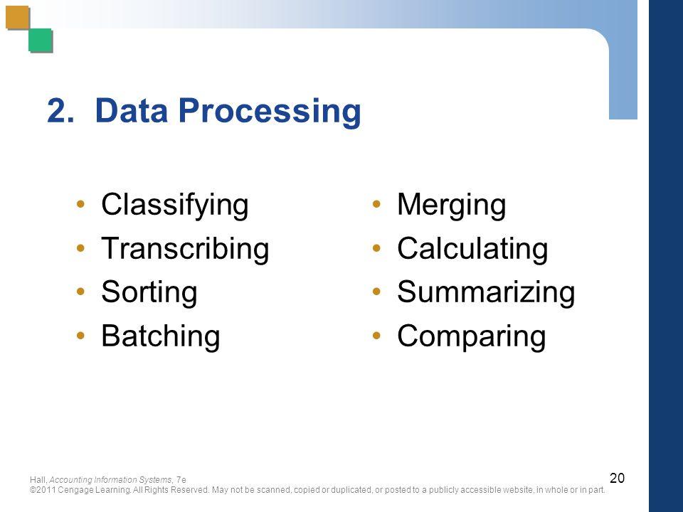 2. Data Processing Classifying Transcribing Sorting Batching Merging