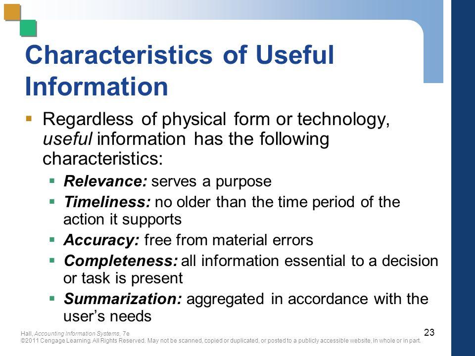 Characteristics of Useful Information