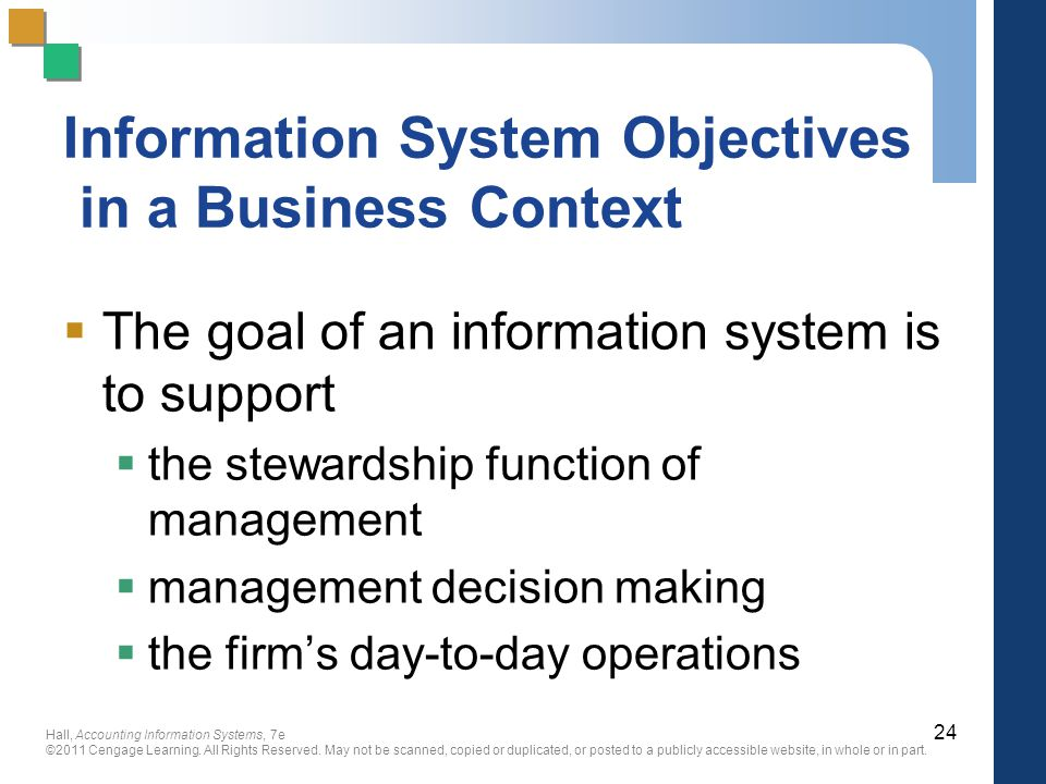 Information System Objectives in a Business Context