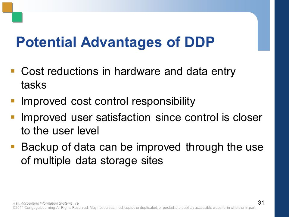 Potential Advantages of DDP