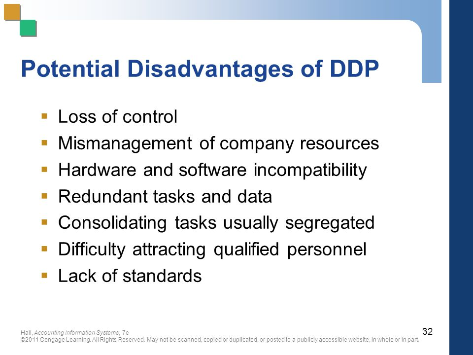 Potential Disadvantages of DDP