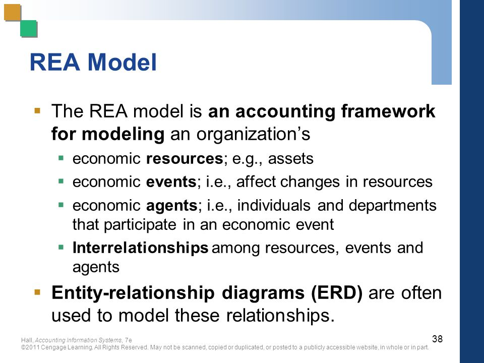 REA Model The REA model is an accounting framework for modeling an organization's. economic resources; e.g., assets.