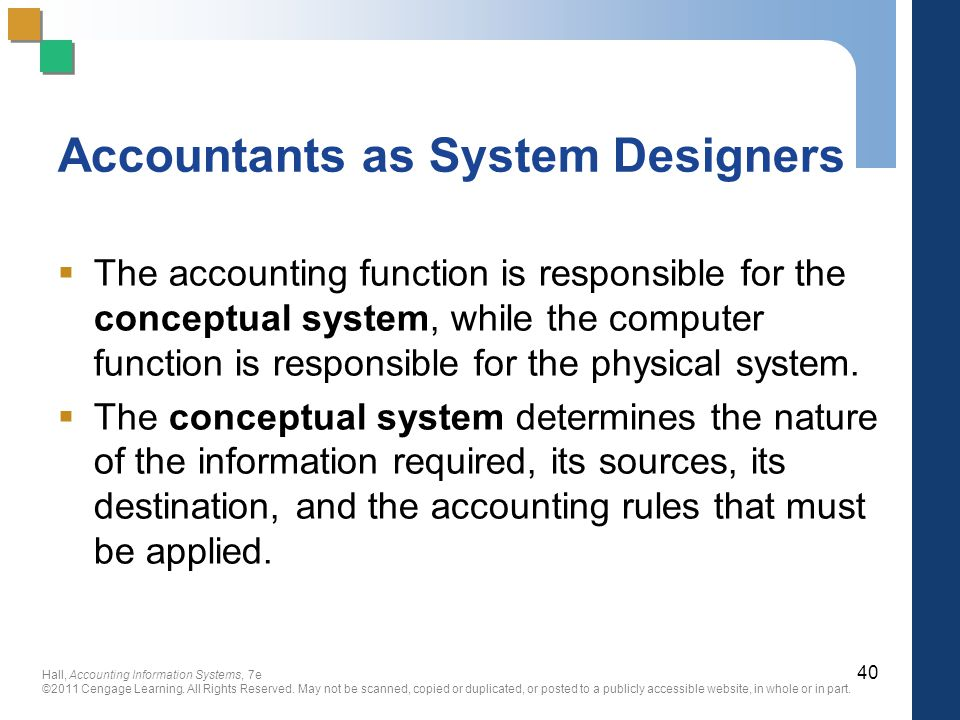 Accountants as System Designers