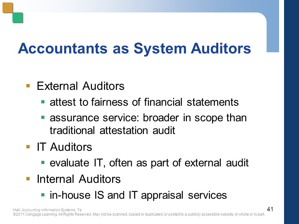 Accountants as System Auditors