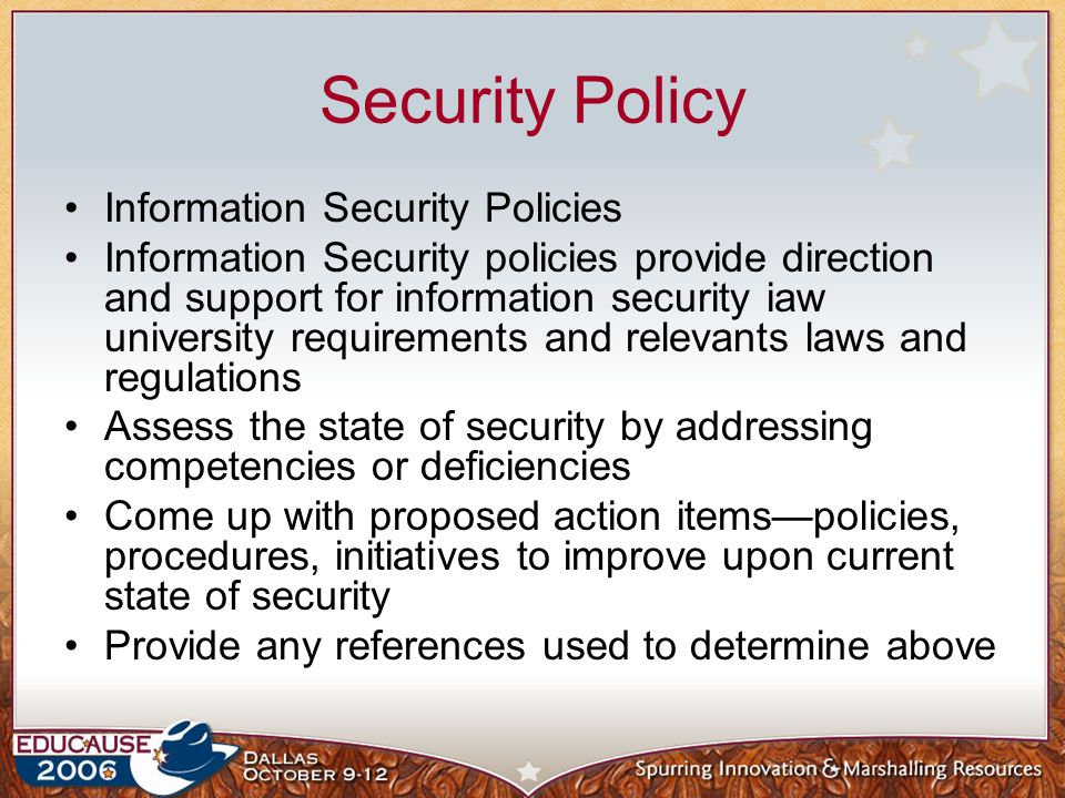 Security Policy Information Security Policies