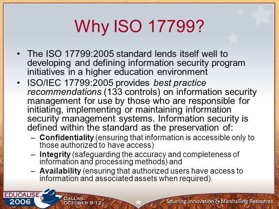 Why ISO 17799
