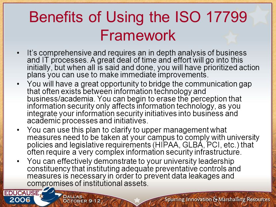 Benefits of Using the ISO 17799 Framework