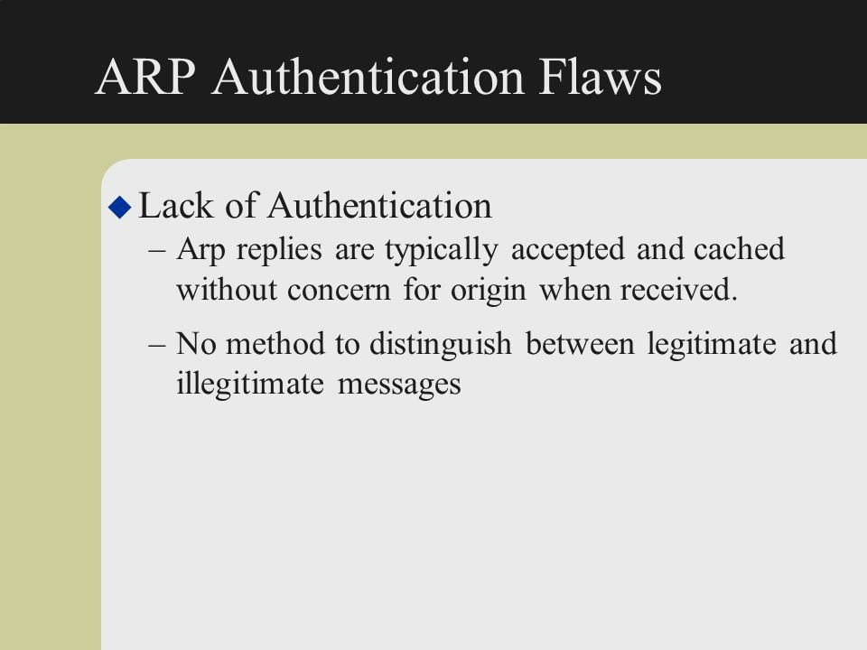 ARP Authentication Flaws