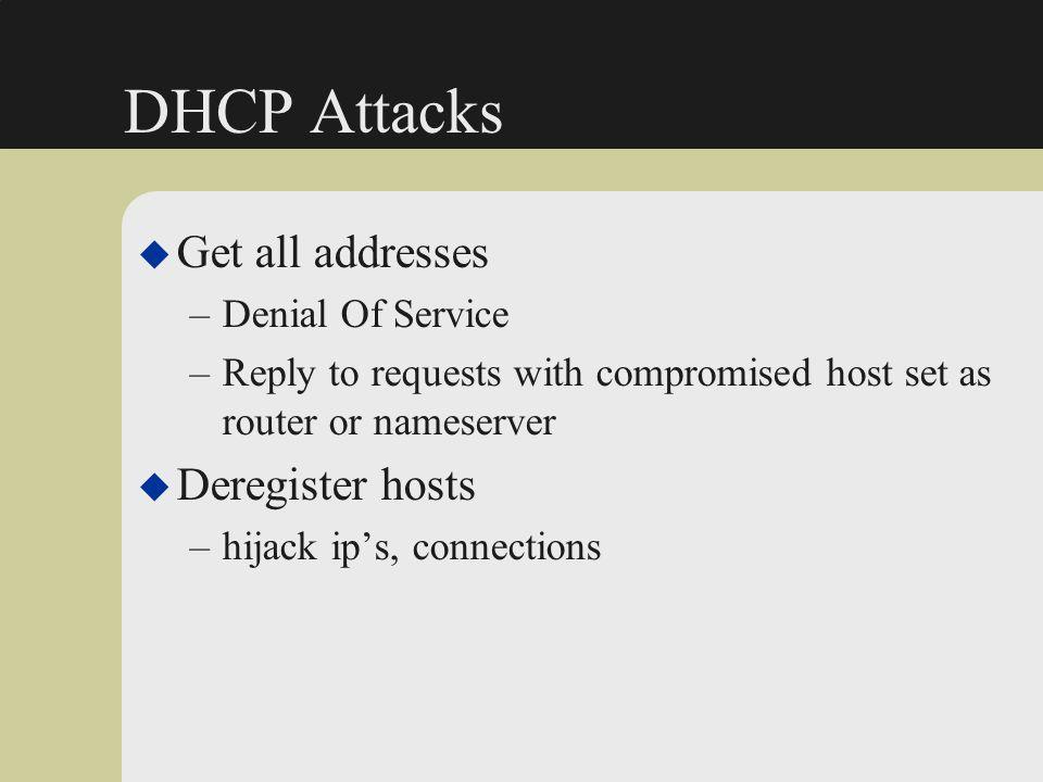 DHCP Attacks Get all addresses Deregister hosts Denial Of Service