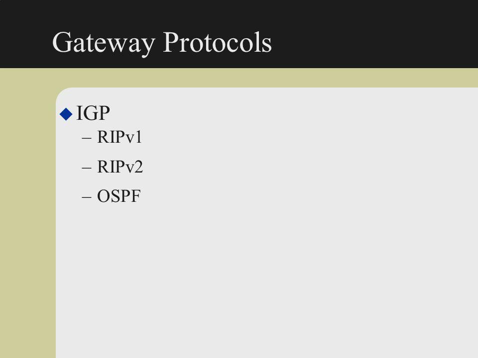 Gateway Protocols IGP RIPv1 RIPv2 OSPF