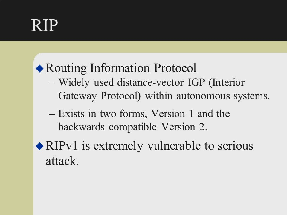 RIP Routing Information Protocol